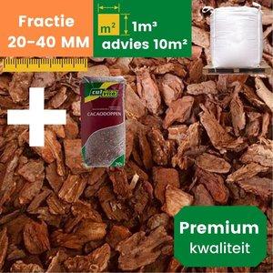 Premium Franse Boomschors 20/40mm - 1.0m³  +  1 Cacaodoppen - Zomer Deal
