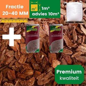 Premium Franse Boomschors 20/40mm - 1.0m³  +  2 Cacaodoppen - Zomer Deal